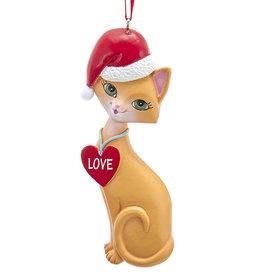 Kurt Adler Orange Cat In Santa Hat And Love Heart Collar Ornament