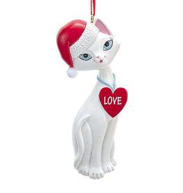 Kurt Adler White Cat In Santa Hat And Love Heart Collar Ornament