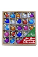 Kurt Adler 20MM Miniature Glitter Glass Ball Ornaments, 25-Piece Box Set