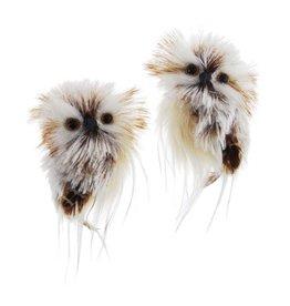 Kurt Adler Owl Ornaments Brown And Cream 2 Assorted