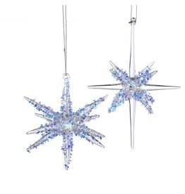 Kurt Adler Glass Star Bursts With Glitter Ornaments 2 Assorted