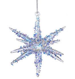 Kurt Adler Glass Star Bursts With Glitter Ornament Style A