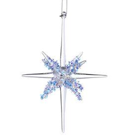 Kurt Adler Glass Star Bursts With Glitter Ornament Style B