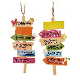 Kurt Adler Beach Sign Ornaments 2 Assorted