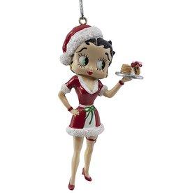 Kurt Adler Santa Betty Boop With Milk And Cookies Christmas Ornament