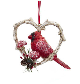 Kurt Adler Red Cardinal Bird In Branch Heart Ornament Position R