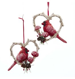 Kurt Adler Red Cardinal Birds In Branch Heart Ornaments 2 Assorted