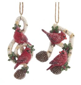 Kurt Adler Red Cardinal Birds On Birch Branch Music Note Ornaments Set