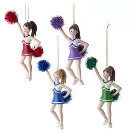 Kurt Adler Cheerleaders With Pom Pom Ornaments 4 Assorted