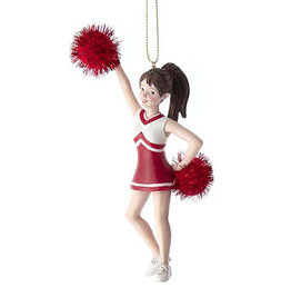 Kurt Adler Red Cheerleader With Pom Pom Ornament