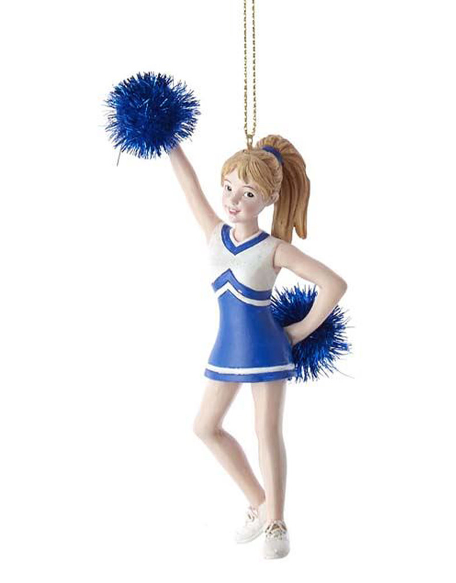 Kurt Adler Blue Cheerleader With Pom Pom Ornament
