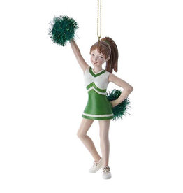 Kurt Adler Green Cheerleader With Pom Pom Ornament