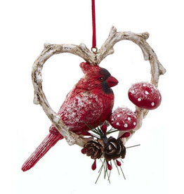 Kurt Adler Red Cardinal Bird In Branch Heart Ornament Position L