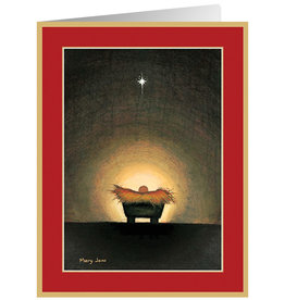 Caspari Boxed Christmas Cards 16pk Star and Creche Cards