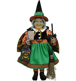 Karen Didion Halloween Lighted Pumpkin Glow Witch Collectible 21 Inch