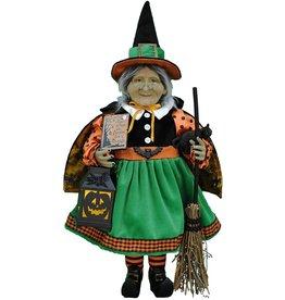 Karen Didion Halloween Lighted Pumpkin Glow Witch Collectible 21 Inch