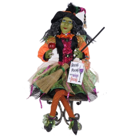 Karen Didion Halloween Glitzy Wine Witch Collectible Figure 26 Inch