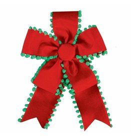 Caspari Pre-made Pom Pom Ribbon Bow In Red And Green 7Lx5W Inches