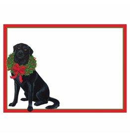 Caspari Name Tags Self Adhesive Labels 12pk Black Labs With Wreath