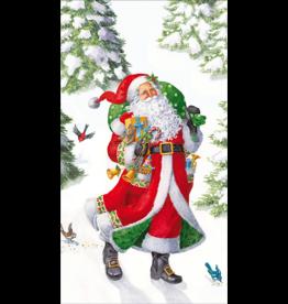 Caspari Christmas Guest Towel Napkins 15pk Woodland Santa