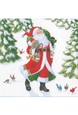 Caspari Christmas Dinner Napkins 20pk Woodland Santa