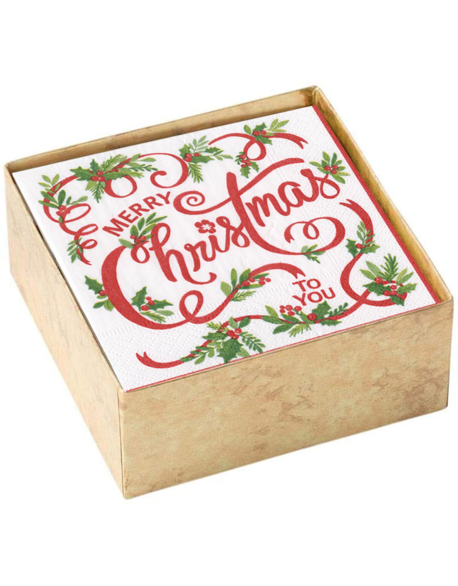 Caspari Boxed Christmas Paper Cocktail Napkins 40pk Merry Christmas To You