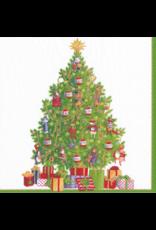 Caspari Boxed Christmas Paper Cocktail Napkins 40pk Musical Jamboree Tree