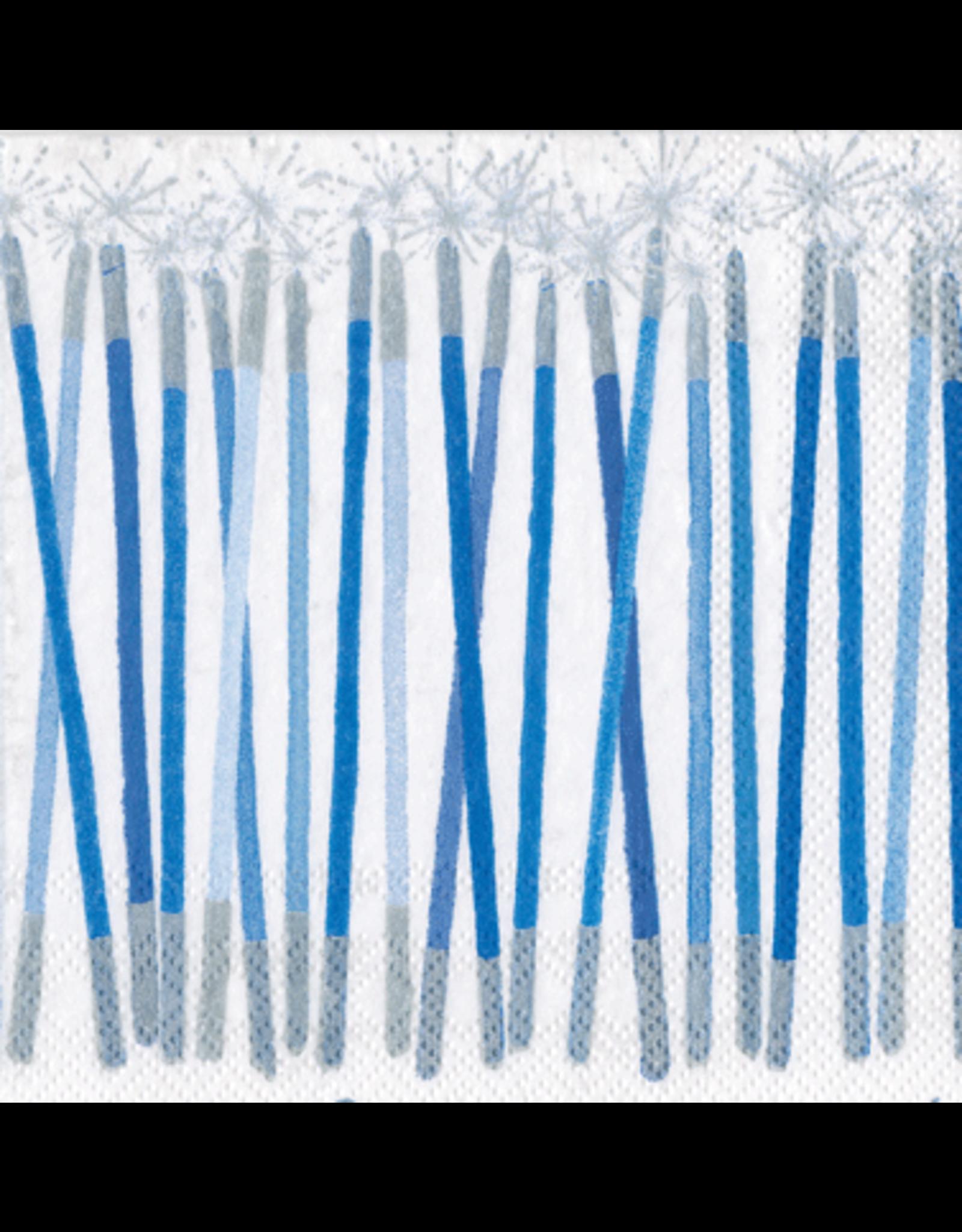 Caspari Paper Cocktail Napkins 20pk Candles In Blue