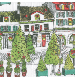 Caspari Christmas Paper Cocktail Napkins 20pk Vintage Village Christmas