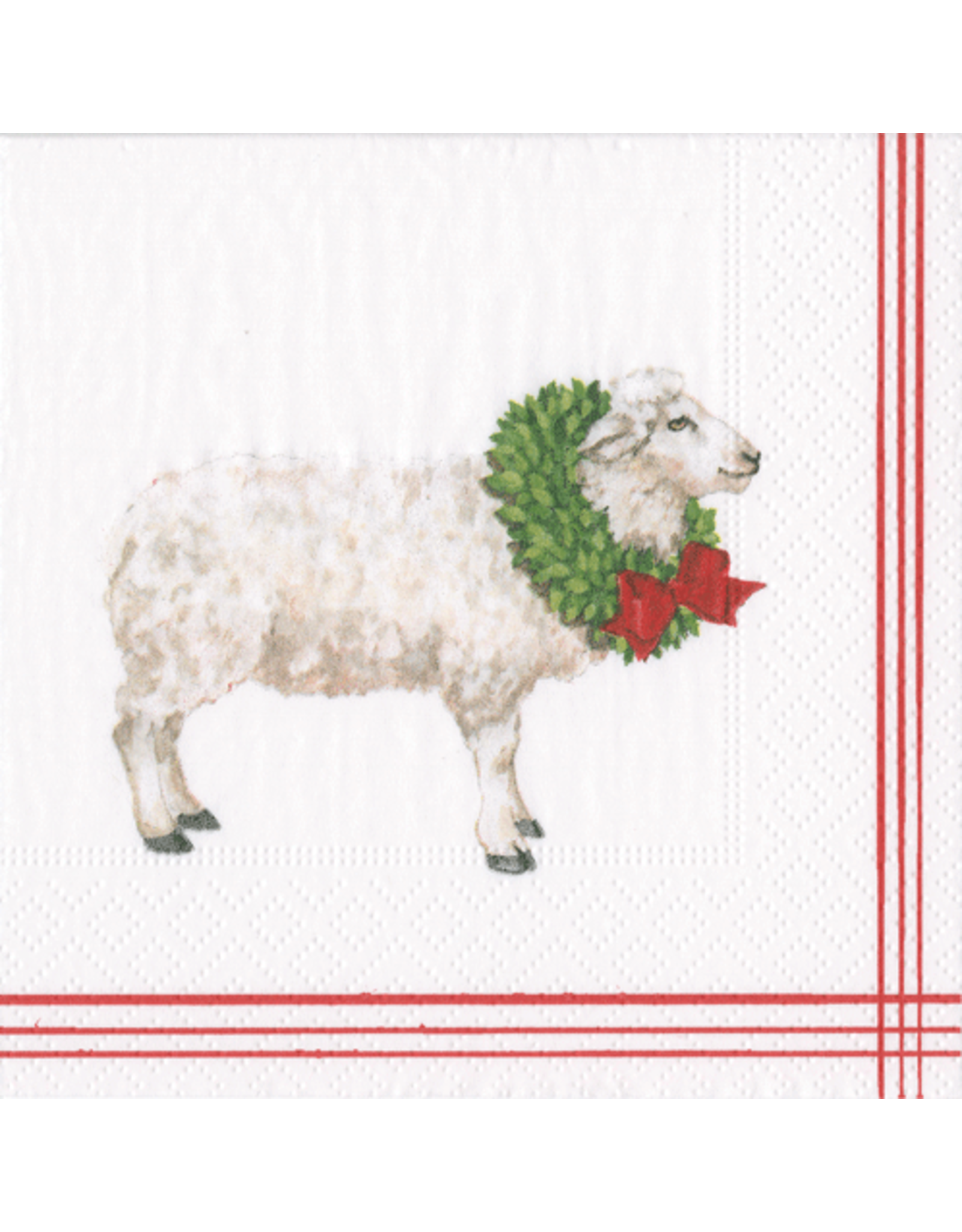 Caspari Christmas Paper Cocktail Napkins 20pk Sheep With Wreath
