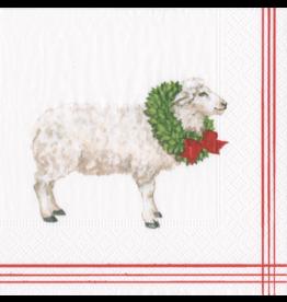 Caspari Christmas Paper Cocktail Napkins 20pk Sheep With Wreath