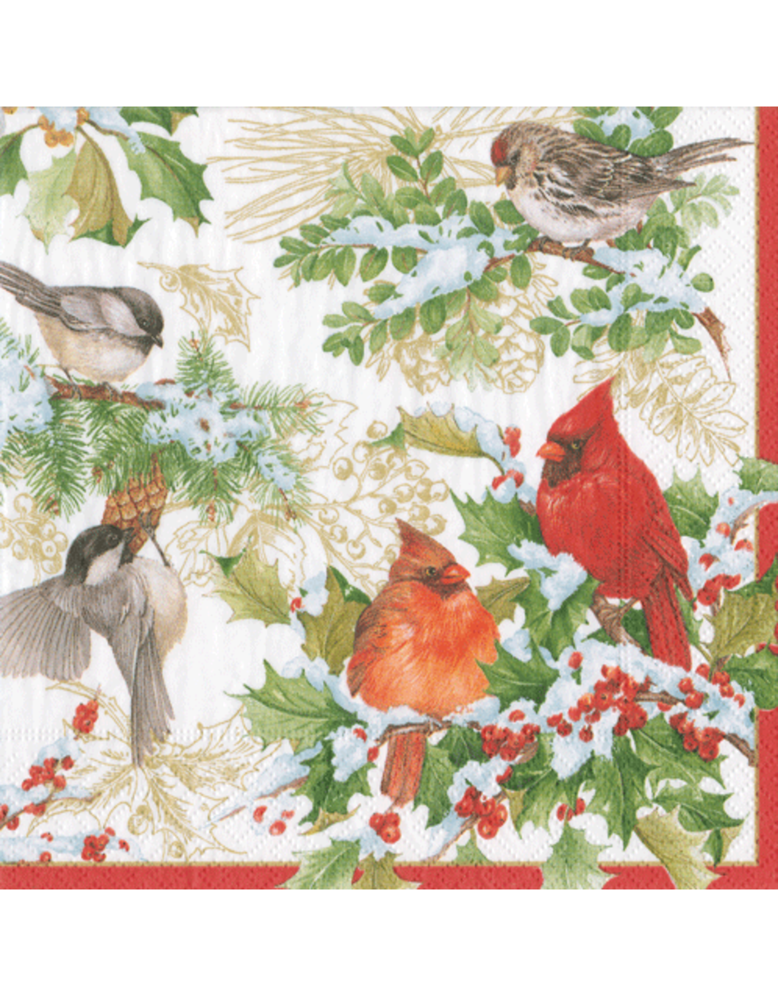 Caspari Christmas Paper Cocktail Napkins 20pk Birds And Greens