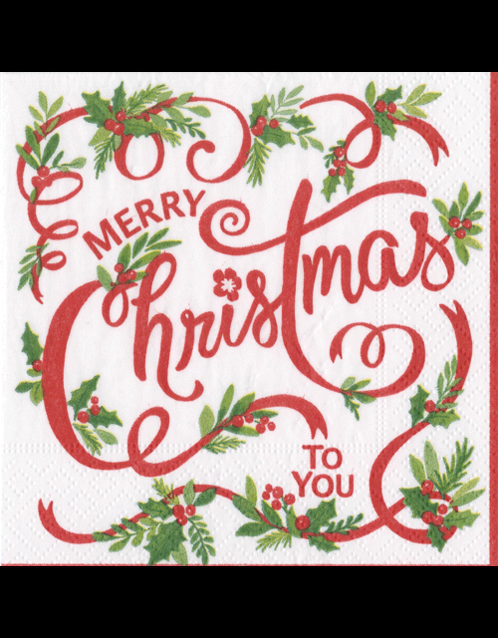 Caspari Christmas Paper Cocktail Napkins 20pk Merry Christmas To You