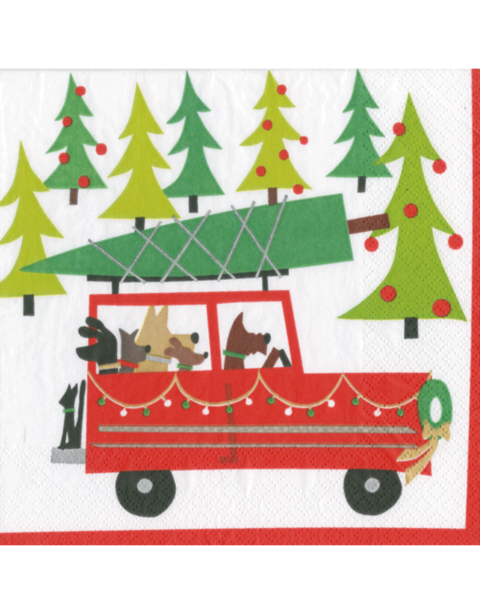 Christmas Paper Cocktail Napkins 20pk Doggy Tree Adventure Digs N Gifts