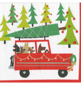 Caspari Christmas Paper Cocktail Napkins 20pk Doggy Tree Adventure