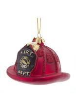 Kurt Adler Firefighters Hat Glass Nobel Gems Ornament 3.5 Inches