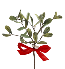 Kurt Adler Christmas Mistletoe Pick With Red Satin Bow
