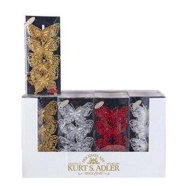 Kurt Adler Glitter Butterfly Clip Ornaments 4 Box Sets Gold Red Silver White