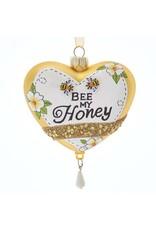 Kurt Adler Bee My Honey Heart Glass Ornament 4 Inch