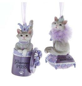 Kurt Adler Royal Splendor Cat Ornaments Glamour Puss N You Look Meowvelous