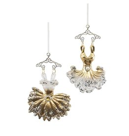 Kurt Adler Gold Ballerina Dress Ornaments 2 Assorted