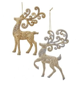 Kurt Adler Gold And Platinum Reindeer Ornaments 2 Assorted