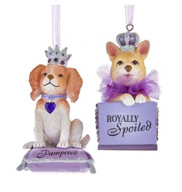 Kurt Adler Royal Splendor Dog Ornaments Pampered And Royally Spoiled