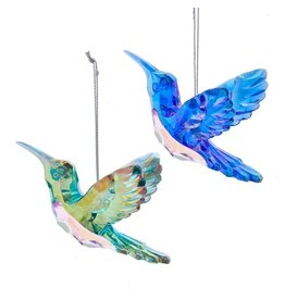 Kurt Adler Peacock Color Hummingbird Ornaments 2 Assorted