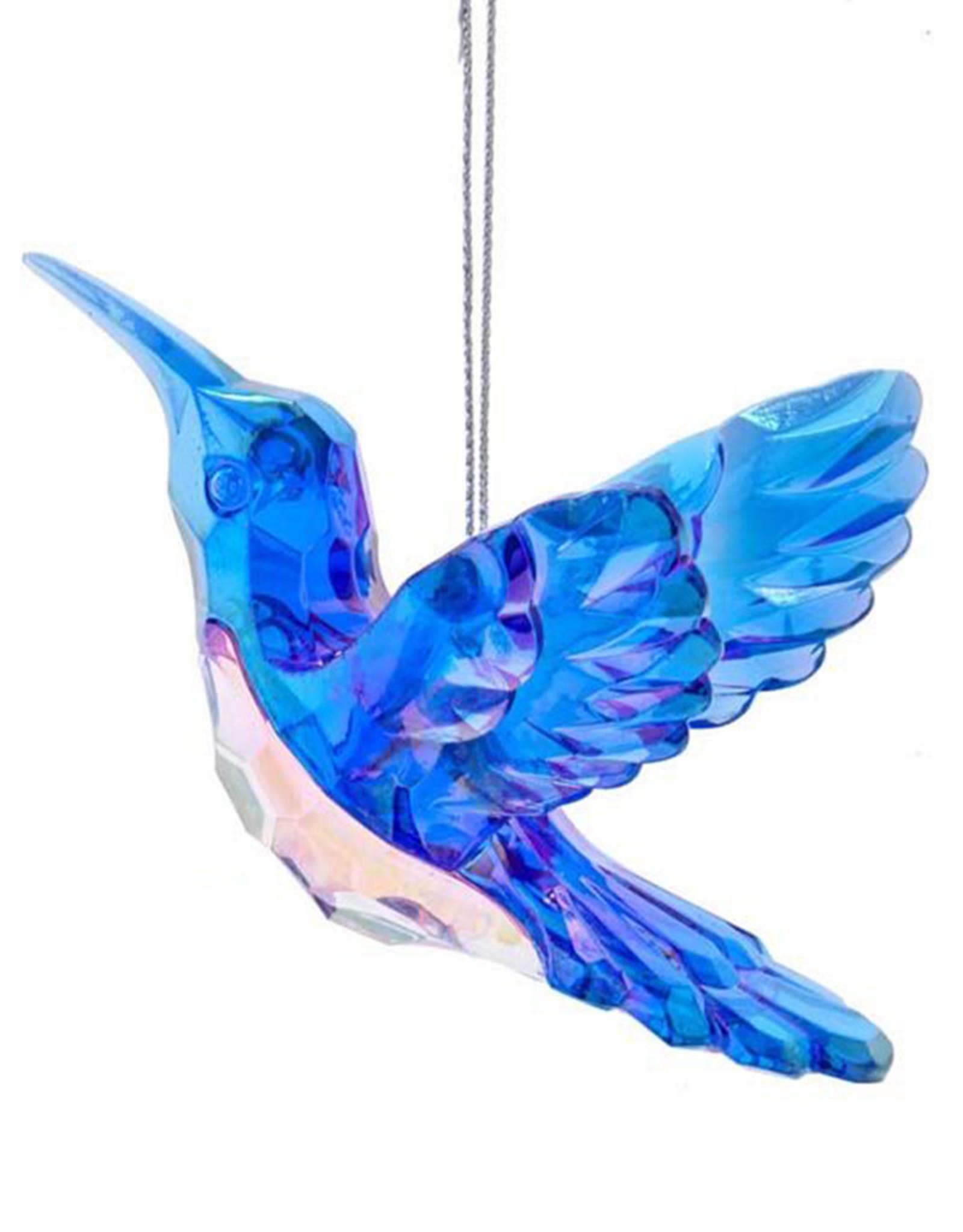 Kurt Adler Blue And Clear Iridescent Peacock Color Hummingbird Ornament