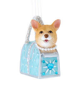 Kurt Adler Dog Wearing Pearl Collar In Tiffany Blue Purse Ornament