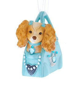 Kurt Adler Dog With Bows On Ears In Tiffany Blue Purse Ornament