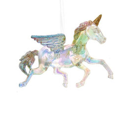 Kurt Adler Unicorn Ornament Clear Iridescent Acrylic W Glitter Accents