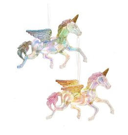 Kurt Adler Unicorn Ornaments Iridescent Acrylic With Glitter 2 Assorted