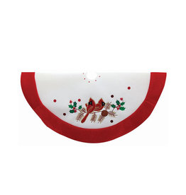 Kurt Adler Mini Christmas Tree Skirt 20 inch With Red Cardinals Birds